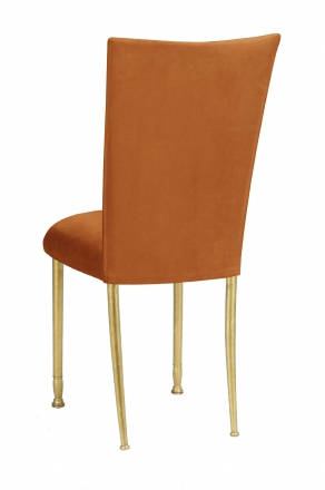 Copper Suede Chair Cover and Cushion on Gold Legs (1)
