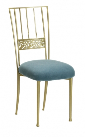 Gold Bella Fleur with Ice Blue Suede Cushion (2)