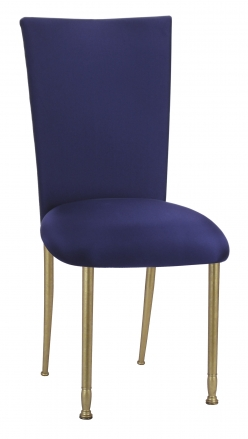 Navy Stretch Knit Chair Cover with Cushion on Gold Legs (2)