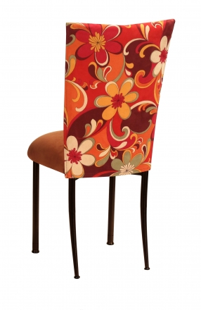 Groovy Suede Chair Cover with Copper Suede Cushion on Brown Legs (1)