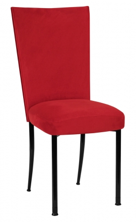 Rhino Red Suede Chair Cover and Cushion on Black Legs (2)