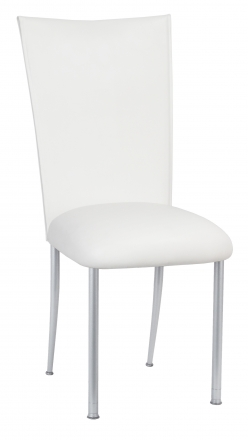 White Leatherette Chair Cover and Cushion on Silver Legs (2)