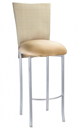 Parchment Linette 3/4 Barstool Cover with Toffee Stretch Knit Cushion on Silver Legs (2)