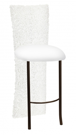 White Wedding Lace Barstool Jacket with White Knit Cushion on Brown Legs (2)