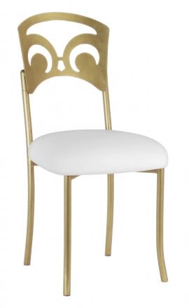Gold Fleur de Lis with White Leatherette Cushion (2)