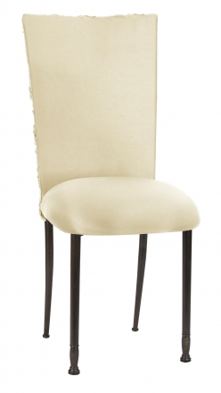 Ivory Rosette Chair Cover with Ivory Stretch Knit Cushion on Mahogany Legs (2)