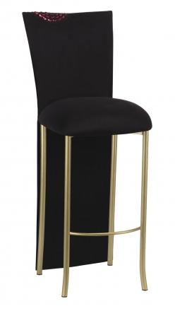 Black Suede Mum Barstool Jacket with Cushion on Gold Legs (2)