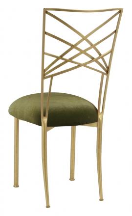 Gold Fanfare with Olive Velvet Cushion (1)