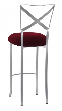 Silver Simply X Barstool with Cranberry Velvet Cushion (1)