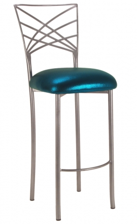Silver Fanfare Barstool with Metallic Teal Cushion (2)