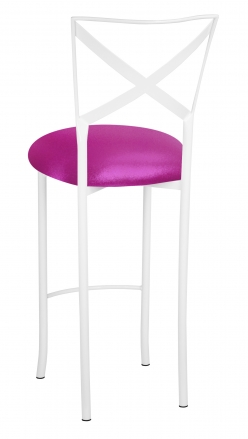 Simply X White Barstool with Metallic Fuchsia Stretch Knit Cushion (1)
