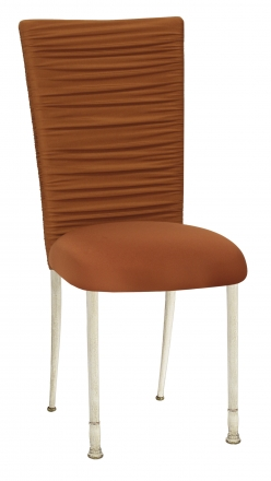 Chloe Copper Stretch Knit Chair Cover with Rhinestone Accent Band and Cushion on Ivory Legs (2)
