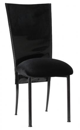 Black Patent 3/4 Chair Cover with Black Velvet Cushion on Black Legs (2)