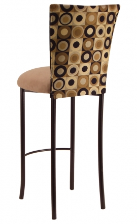 Concentric Circle Chair Cover with Camel Suede Cushion on Brown Legs (1)
