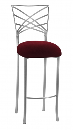 Silver Fanfare Barstool with Cranberry Velvet Cushion (2)