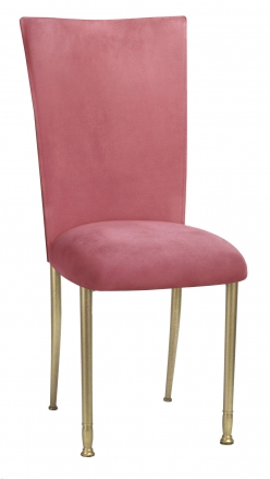 Raspberry Suede Chair Cover and Cushion on Gold Legs (2)