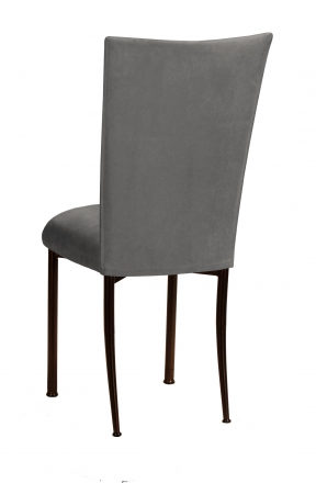 Charcoal Suede Chair Cover And Cushion On Brown Legs 1
