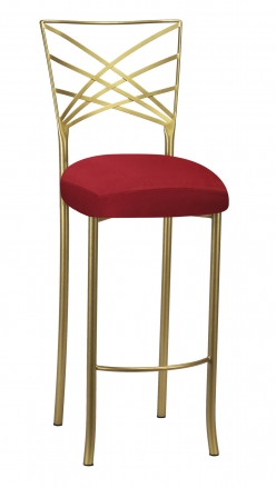 Gold Fanfare Barstool with Red Rhino Suede Boxed Cushion (2)
