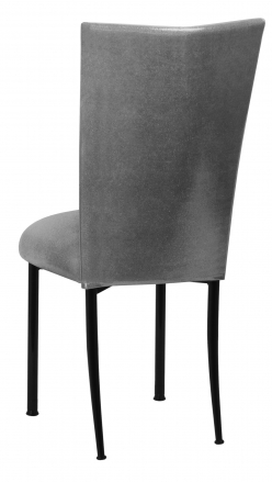 Gunmetal Stretch Knit Chair Cover with Cushion on Black Legs (1)
