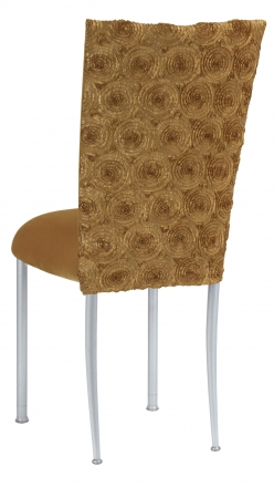 Gold Circle Ribbon Taffeta Chair Cover with Gold Velvet Cushion on Silver Legs (1)