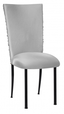 Silver Demure Chair Cover with Jeweled Band and Silver Stretch Knit Cushion on Black Legs (2)
