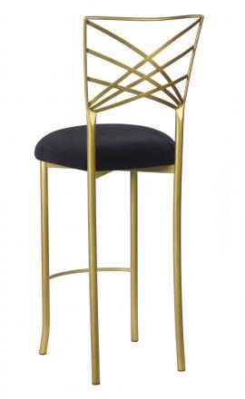 Gold Fanfare Barstool with Black Velvet Cushion (1)