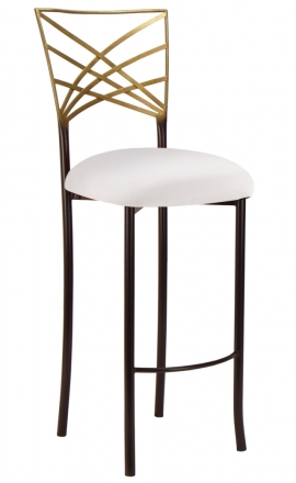 Two Tone Gold Fanfare Barstool with White Stretch Knit Cushion (2)