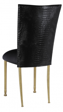 Black Croc Chair Cover with Black Stretch Knit Cushion on Gold Legs (1)