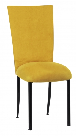 Canary Suede Chair Cover with Jewel Belt and Cushion on Black Legs (2)