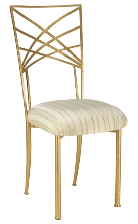 Gold Fanfare with Ivory Stripe Cushion (2)