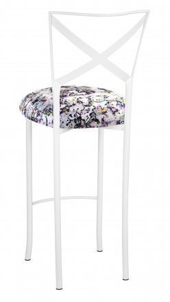 Simply X White Barstool with White Paint Splatter Cushion (1)