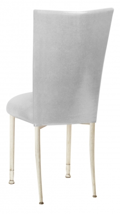 Metallic Silver Stretch Knit Chair Cover and Cushion on Ivory Legs (1)
