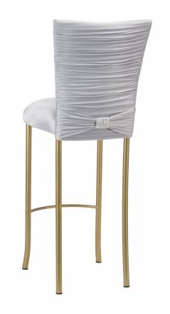 Chloe Silver Stretch Knit Barstool Cover with Rhinestone Accent Band and Cushion on Gold Legs (1)