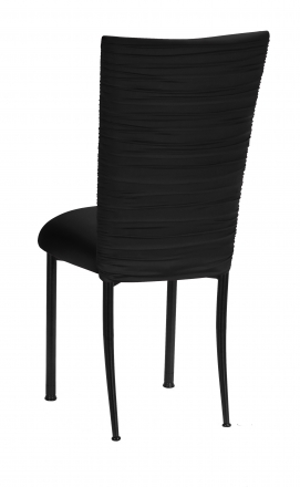 Chloe Black Stretch Knit Chair Cover and Cushion on Black Legs (1)