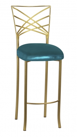 Gold Fanfare Barstool with Metallic Teal Knit Cushion (2)