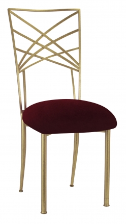 Gold Fanfare with Cranberry Velvet Cushion (2)