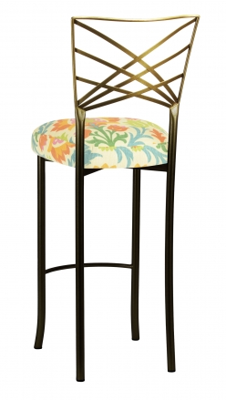 Two Tone Fanfare Barstool with Floral Bloom Boxed Cushion (1)
