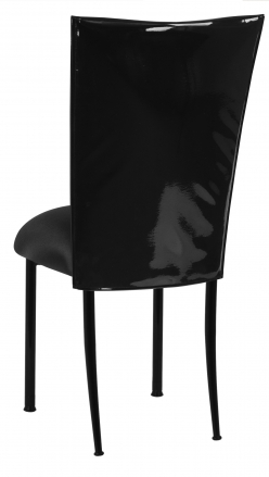 Black Patent Leather Chair Cover with Black Stretch Knit Cushion (1)