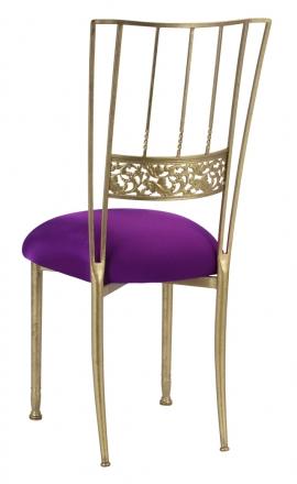 Gold Bella Fleur with Plum Stretch Knit Cushion (1)