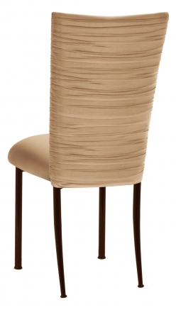 Chloe Beige Stretch Knit Chair Cover and Cushion on Brown Legs (1)