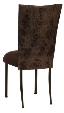 Durango Chocolate Leatherette with Chocolate Suede Cushion on Brown Legs (1)