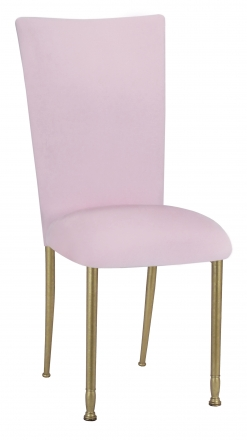 Soft Pink Velvet Chair Cover and Cushion on Gold Legs (2)