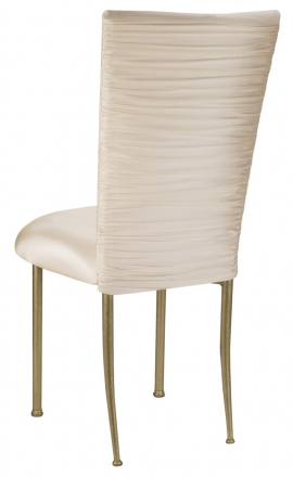 Chloe Ivory Stretch Knit Chair Cover and Cushion on Gold Legs (1)