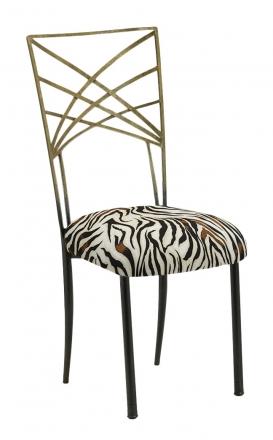 Two Tone Gold Fanfare with Zebra Stretch Knit Cushion (2)