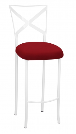 Simply X White Barstool with Red Stretch Knit Cushion (2)