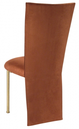 Cognac Suede Jacket and Cushion on Gold Legs (1)