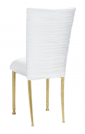 Chloe White Stretch Knit Chair Cover and Cushion on Gold Legs (1)