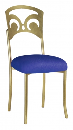 Gold Fleur de Lis with Royal Blue Stretch Knit Cushion (2)
