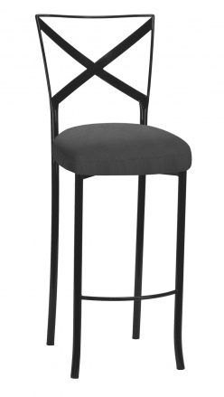 Blak. Barstool with Charcoal Linette Boxed Cushion (2)