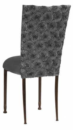 Pewter Circle Ribbon Taffeta Chair Cover with Charcoal Suede Cushion on Mahogany Legs (1)